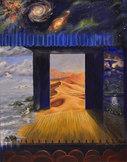 Cover art description: A theater with the front two rows of seats visible. There are three stage doors, with a strip of thick blue curtain above them, forming a top frame for the stage. The one on the left opens not to backstage, but to a seascape, with a few seaweed-covered rocks, and a couple flying seagulls. There are some clouds in the sky. The waves are sloshing through the doorway onto the stage, and the water is running down the left side of the stage into the audience. There is one seagull standing on the stage, looking across it. The middle door opens to a hot desert, with distant mountains beyond the dunes. Some of the sand has blown through the doorway onto the stage, extending one of the dunes through the doorway. The third door, on the left, opens to a field at night, with a few flowers in the grass. Not far from the door, the grass meets a body of water, with moonlight reflecting off of it. Beyond the water, is more grass, and a few trees. The night sky in the lefthand door has a moon and clouds, with stars above them. The stars climb up the side of the picture, fading over the strip of curtain, and into a space-scape over the whole picture. Sheets of green aurora light mingle with the stars on the right, and toward the left there are two spiral galaxies, and a glowing nebula.
